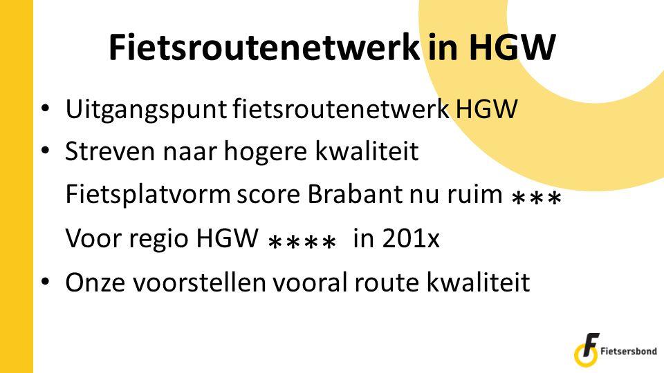 Fietsroutenetwerk in HGW Uitgangspunt fietsroutenetwerk HGW Streven naar hogere kwaliteit Fietsplatvorm score Brabant nu ruim *** Voor regio HGW ****
