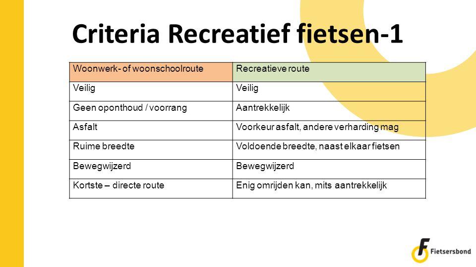 Criteria Recreatief fietsen-1 Woonwerk- of woonschoolrouteRecreatieve route Veilig Geen oponthoud / voorrangAantrekkelijk AsfaltVoorkeur asfalt, ander