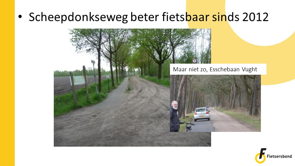 Scheepdonkseweg beter fietsbaar sinds 2012 Maar niet zo, Esschebaan Vught