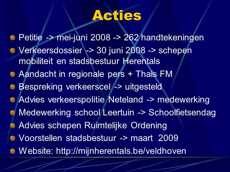 Acties Petitie -> mei-juni 2008 -> 262 handtekeningen Verkeersdossier -> 30 juni 2008 -> schepen mobiliteit en stadsbestuur Herentals Aandacht in regionale pers + Thals FM Bespreking verkeerscel -> uitgesteld Advies verkeerspolitie Neteland -> medewerking Medewerking school Leertuin -> Schoolfietsendag Advies schepen Ruimtelijke Ordening Voorstellen stadsbestuur -> maart 2009 Website: http://mijnherentals.be/veldhoven