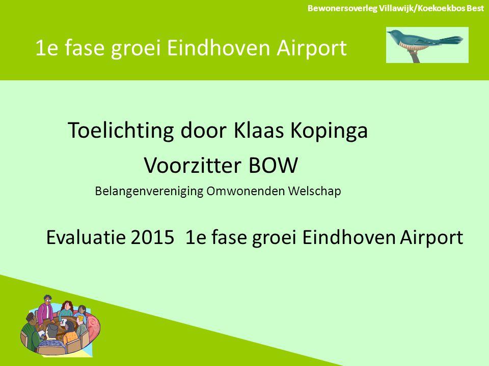 1e fase groei Eindhoven Airport Toelichting door Klaas Kopinga Voorzitter BOW Belangenvereniging Omwonenden Welschap Evaluatie 2015 1e fase groei Eindhoven Airport Bewonersoverleg Villawijk/Koekoekbos Best