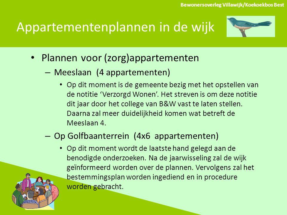 Appartementenplannen in de wijk Plannen voor (zorg)appartementen – Meeslaan (4 appartementen) Op dit moment is de gemeente bezig met het opstellen van de notitie 'Verzorgd Wonen'.