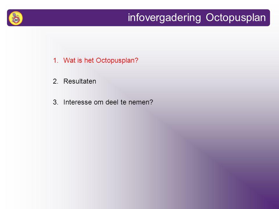 1.Wat is het Octopusplan 2.Resultaten 3.Interesse om deel te nemen infovergadering Octopusplan