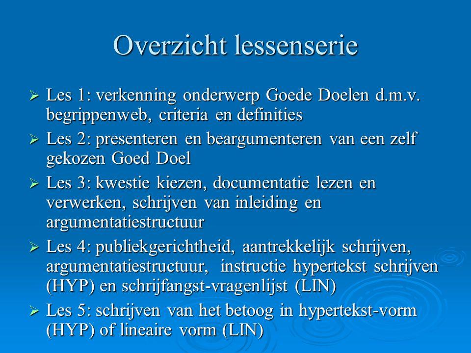 Overzicht lessenserie  Les 1: verkenning onderwerp Goede Doelen d.m.v. begrippenweb, criteria en definities  Les 2: presenteren en beargumenteren va