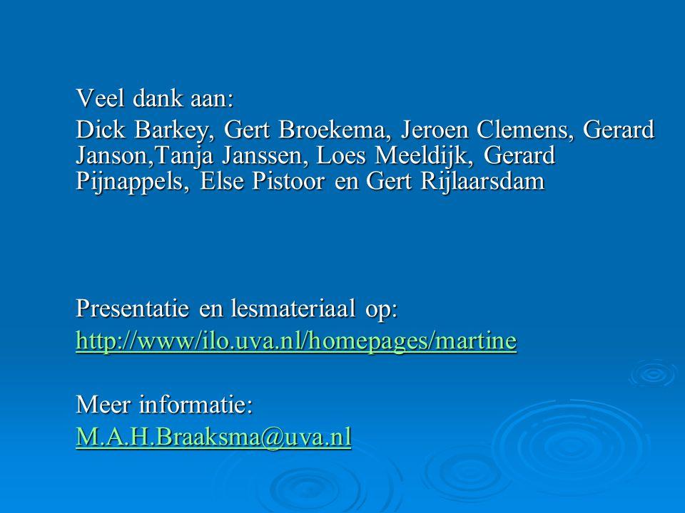 Veel dank aan: Dick Barkey, Gert Broekema, Jeroen Clemens, Gerard Janson,Tanja Janssen, Loes Meeldijk, Gerard Pijnappels, Else Pistoor en Gert Rijlaarsdam Presentatie en lesmateriaal op: http://www/ilo.uva.nl/homepages/martine Meer informatie: M.A.H.Braaksma@uva.nl