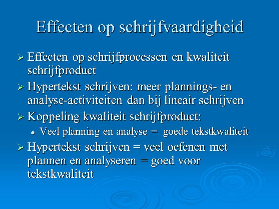 Effecten op schrijfvaardigheid  Effecten op schrijfprocessen en kwaliteit schrijfproduct  Hypertekst schrijven: meer plannings- en analyse-activitei