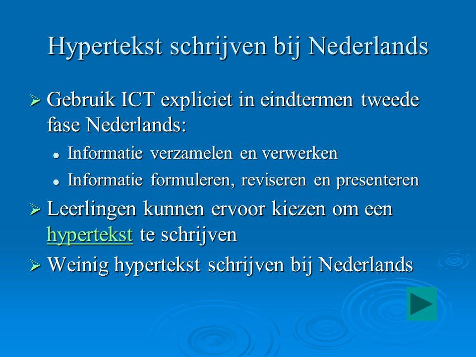 Hypertekst schrijven bij Nederlands  Gebruik ICT expliciet in eindtermen tweede fase Nederlands: Informatie verzamelen en verwerken Informatie verzam
