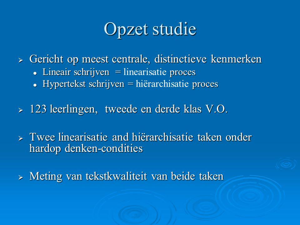Opzet studie  Gericht op meest centrale, distinctieve kenmerken Lineair schrijven = proces Lineair schrijven = linearisatie proces Hypertekst schrijv