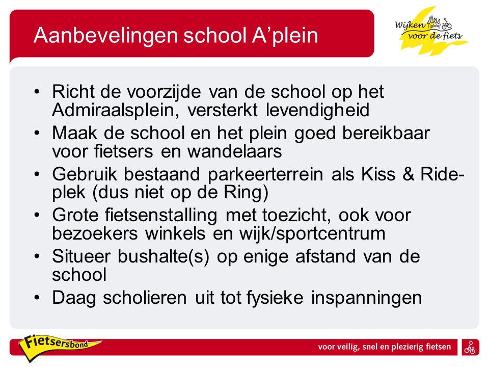 Aanbevelingen school A'plein Richt de voorzijde van de school op het Admiraalsplein, versterkt levendigheid Maak de school en het plein goed bereikbaa