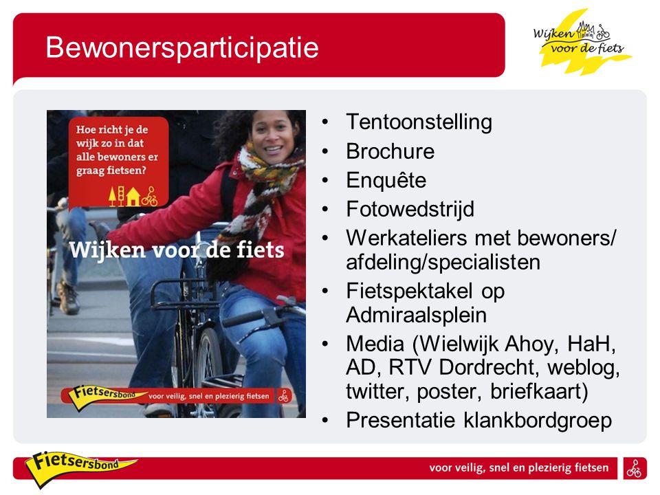 Bewonersparticipatie Tentoonstelling Brochure Enquête Fotowedstrijd Werkateliers met bewoners/ afdeling/specialisten Fietspektakel op Admiraalsplein M