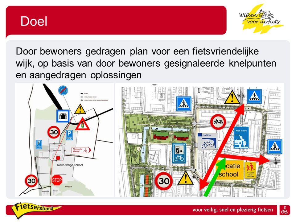 Doel Door bewoners gedragen plan voor een fietsvriendelijke wijk, op basis van door bewoners gesignaleerde knelpunten en aangedragen oplossingen