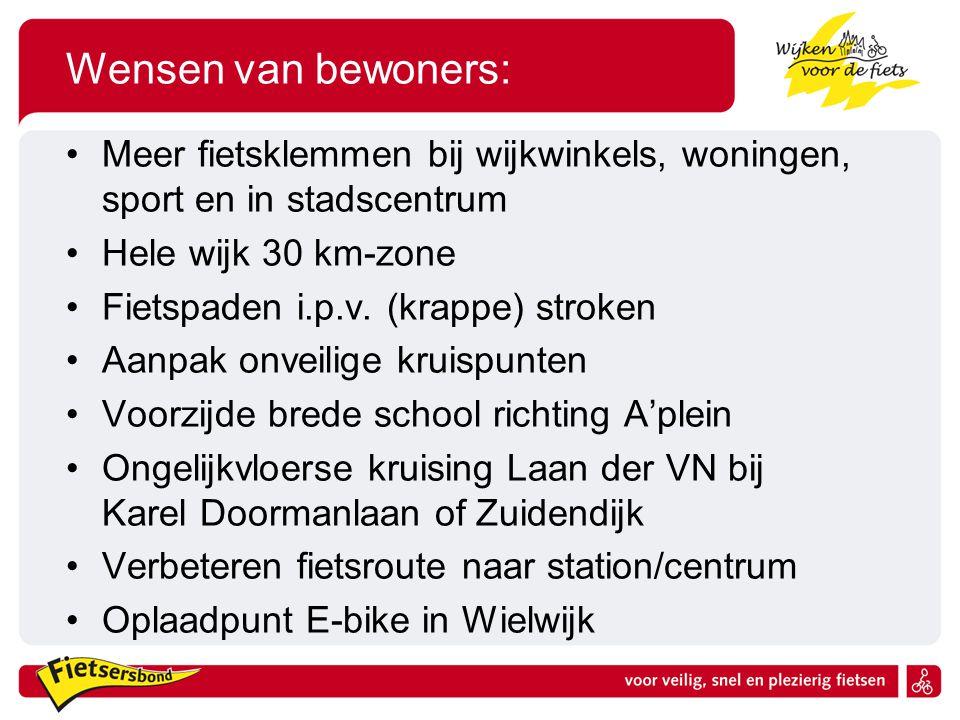 Wensen van bewoners: Meer fietsklemmen bij wijkwinkels, woningen, sport en in stadscentrum Hele wijk 30 km-zone Fietspaden i.p.v. (krappe) stroken Aan