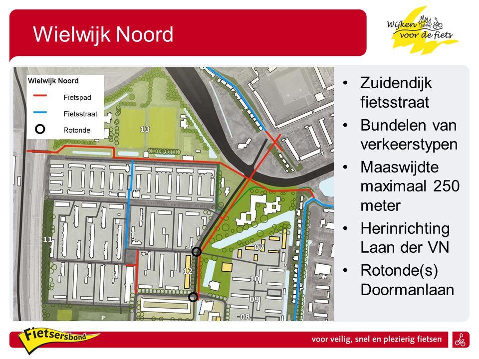 Wielwijk Noord Zuidendijk fietsstraat Bundelen van verkeerstypen Maaswijdte maximaal 250 meter Herinrichting Laan der VN Rotonde(s) Doormanlaan