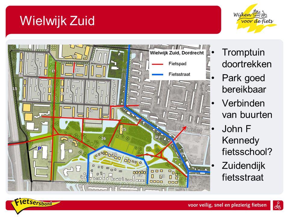 Wielwijk Zuid Tromptuin doortrekken Park goed bereikbaar Verbinden van buurten John F Kennedy fietsschool? Zuidendijk fietsstraat