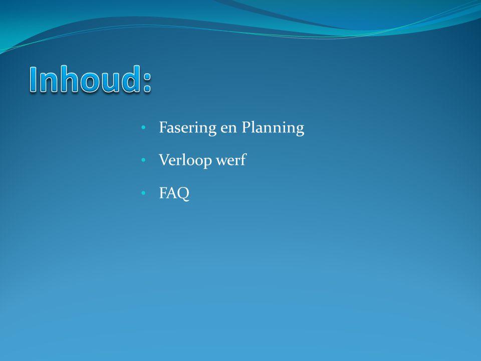 Fasering en Planning Verloop werf FAQ