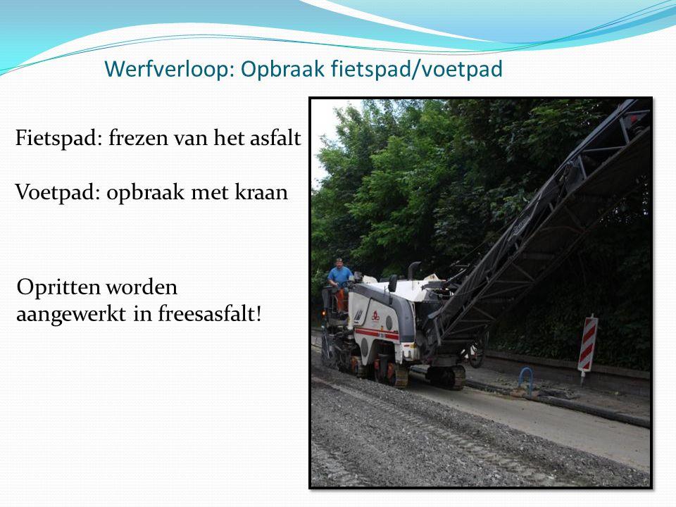 Werfverloop: Opbraak fietspad/voetpad Opritten worden aangewerkt in freesasfalt! Fietspad: frezen van het asfalt Voetpad: opbraak met kraan