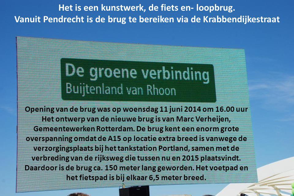 Opening van de brug was op woensdag 11 juni 2014 om 16.00 uur Het ontwerp van de nieuwe brug is van Marc Verheijen, Gemeentewerken Rotterdam.