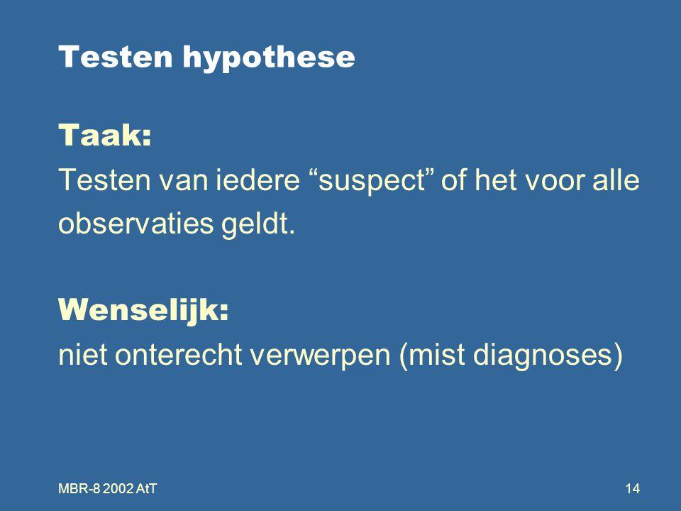 MBR-8 2002 AtT14 Testen hypothese Taak: Testen van iedere suspect of het voor alle observaties geldt.