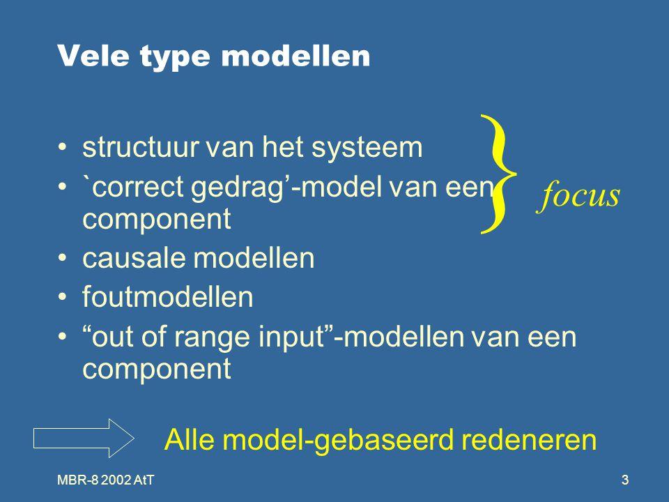 MBR-8 2002 AtT3 Vele type modellen structuur van het systeem `correct gedrag'-model van een component causale modellen foutmodellen out of range input -modellen van een component Alle model-gebaseerd redeneren } focus