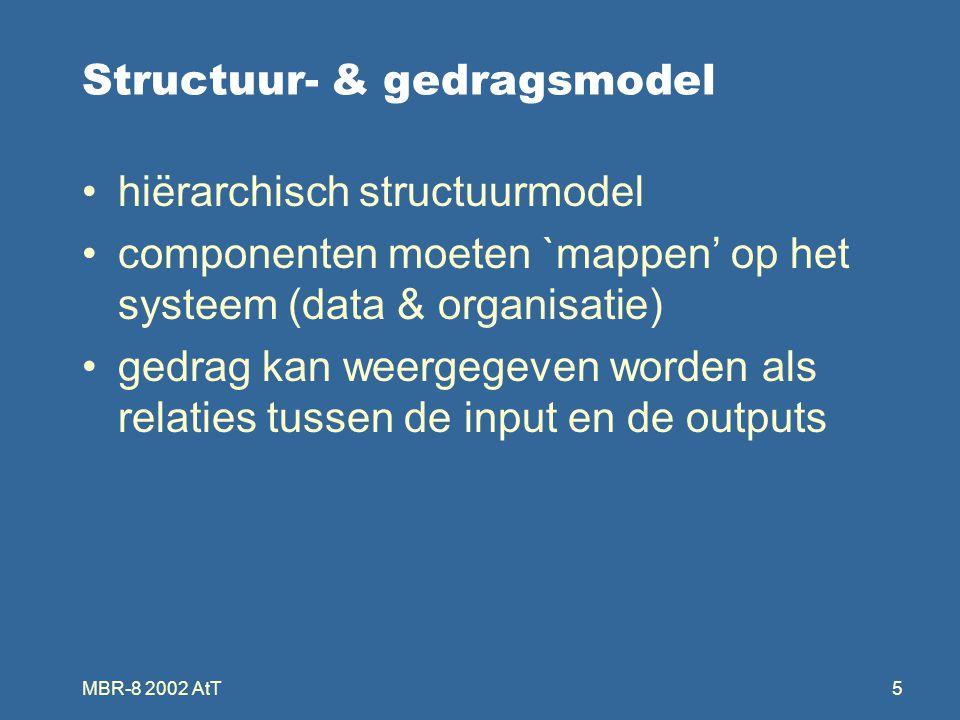 MBR-8 2002 AtT5 Structuur- & gedragsmodel hiërarchisch structuurmodel componenten moeten `mappen' op het systeem (data & organisatie) gedrag kan weergegeven worden als relaties tussen de input en de outputs
