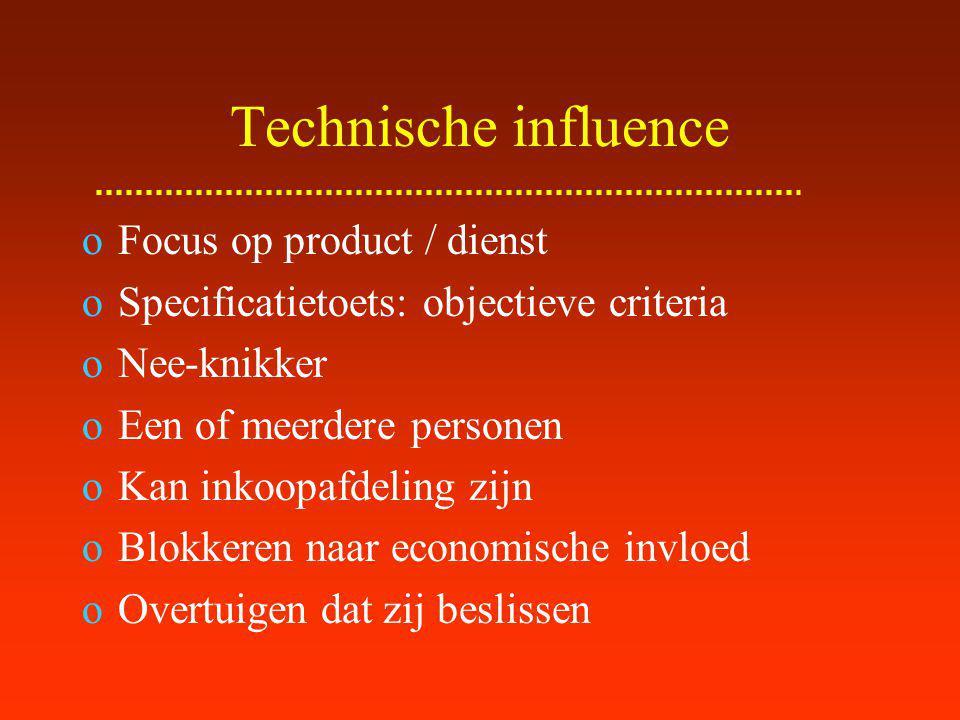 Gebruikers influence Actuele gebruiker Impact product / dienst op dagelijks presteren: directe werkomgeving Een of meerdere personen Zeer subjectief (persoonlijk belang!) Sabotage Dagelijkse tegenwerking