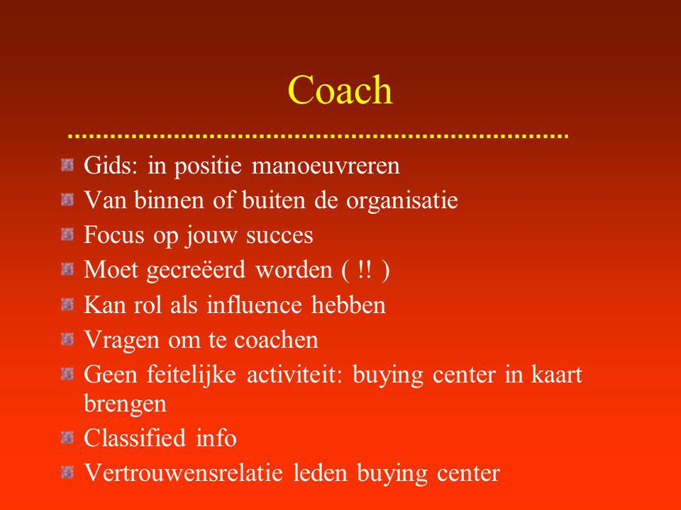 Coach Criteria goede coach: Persoonlijke geloofwaardigheid bij coach Geloofwaardigheid coach in kopende organisatie Wil dat je slaagt (zijn/haar eigen belang) - valse coach -