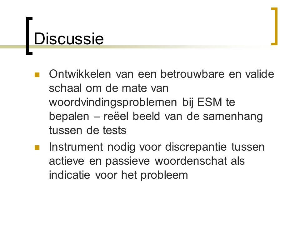 Discussie Ontwikkelen van een betrouwbare en valide schaal om de mate van woordvindingsproblemen bij ESM te bepalen – reëel beeld van de samenhang tussen de tests Instrument nodig voor discrepantie tussen actieve en passieve woordenschat als indicatie voor het probleem