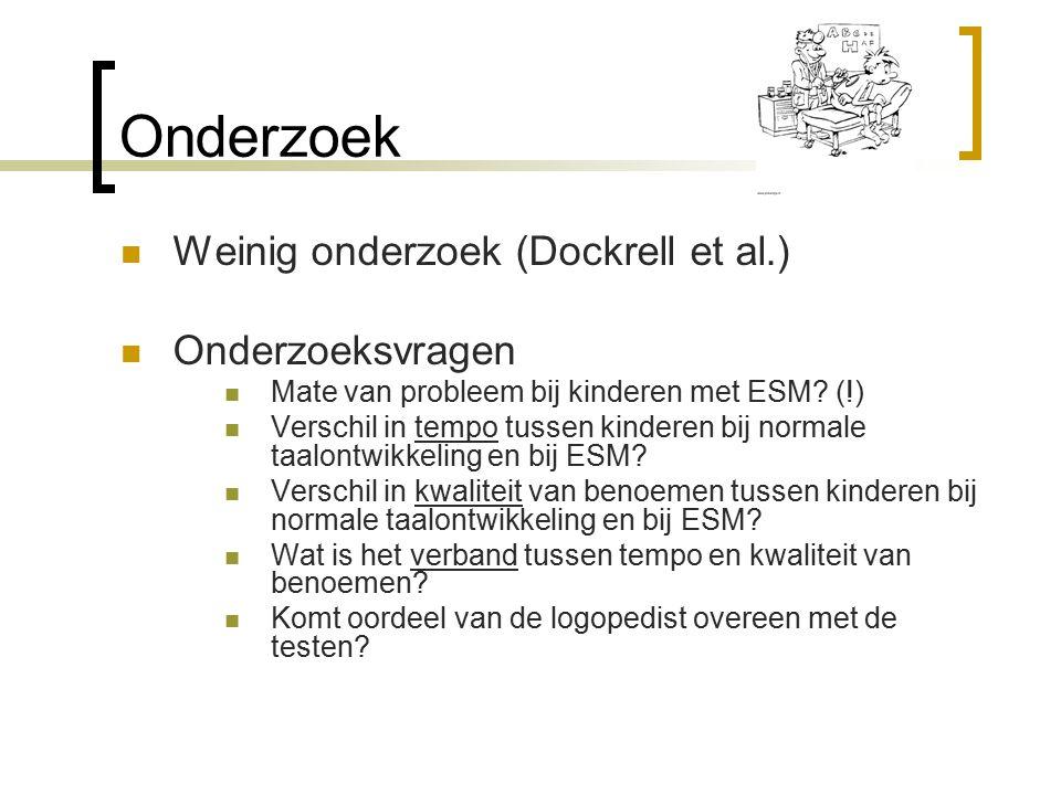 Onderzoek Weinig onderzoek (Dockrell et al.) Onderzoeksvragen Mate van probleem bij kinderen met ESM.