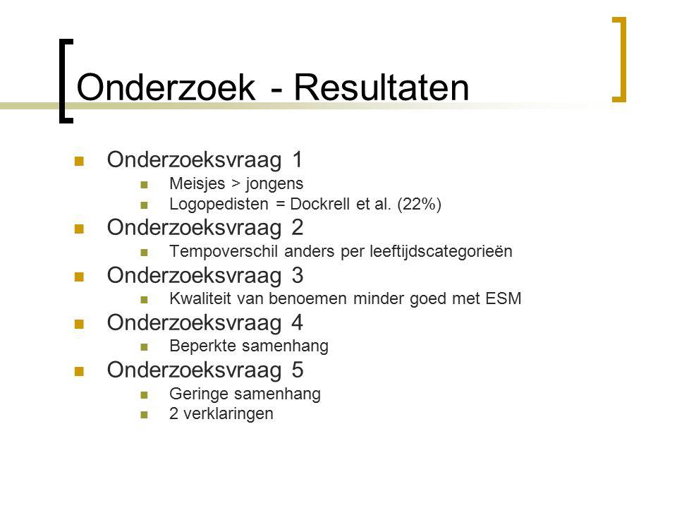 Onderzoek - Resultaten Onderzoeksvraag 1 Meisjes > jongens Logopedisten = Dockrell et al.