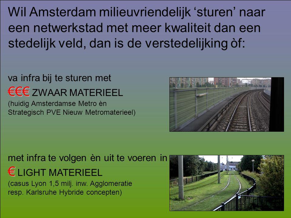 Wil Amsterdam milieuvriendelijk 'sturen' naar een netwerkstad met meer kwaliteit dan een stedelijk veld, dan is de verstedelijking òf: va infra bij te sturen met €€€ €€€ ZWAAR MATERIEEL (huidig Amsterdamse Metro èn Strategisch PVE Nieuw Metromaterieel) met infra te volgen èn uit te voeren in € € LIGHT MATERIEEL (casus Lyon 1,5 milj.