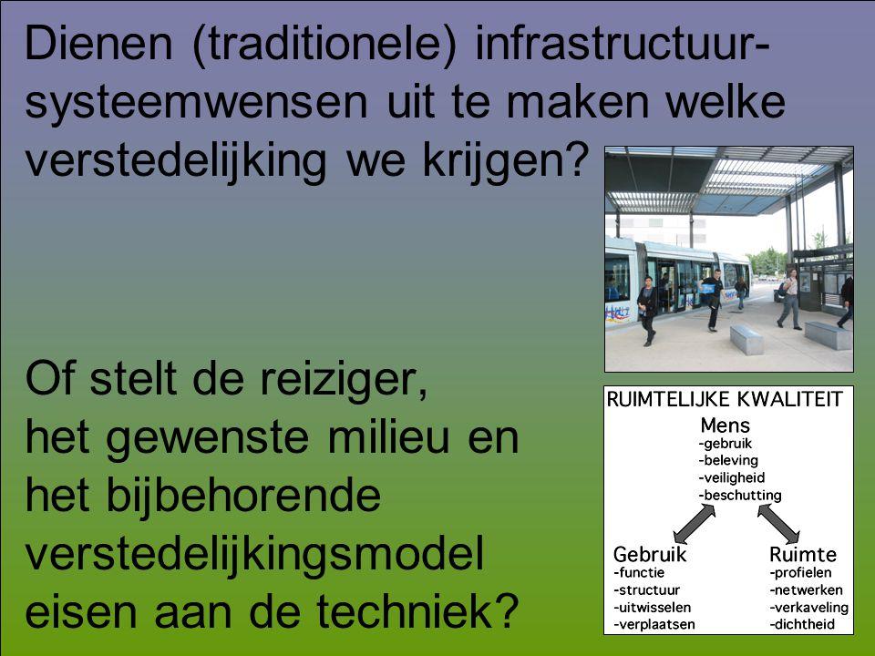 Dienen (traditionele) infrastructuur- systeemwensen uit te maken welke verstedelijking we krijgen? Of stelt de reiziger, het gewenste milieu en het bi