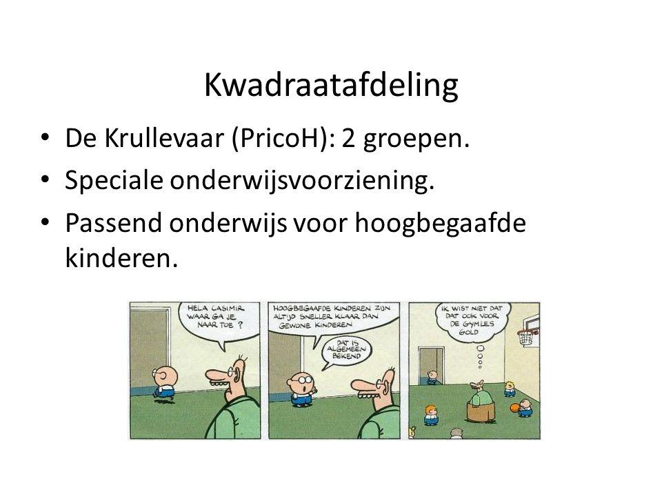 Kwadraatafdeling De Krullevaar (PricoH): 2 groepen. Speciale onderwijsvoorziening. Passend onderwijs voor hoogbegaafde kinderen.