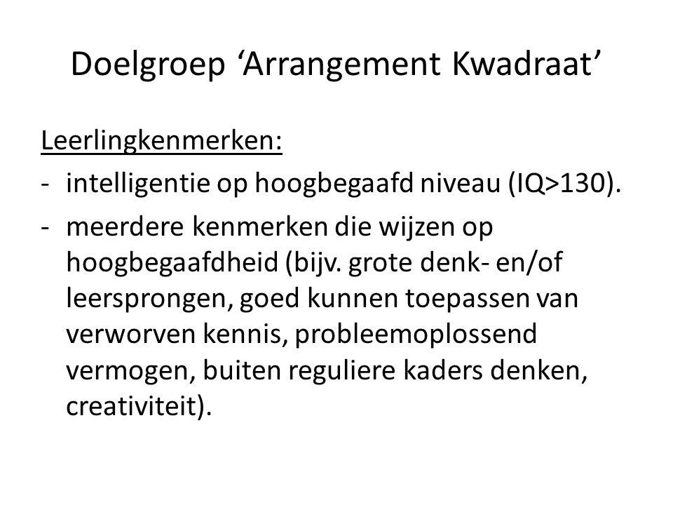 Doelgroep 'Arrangement Kwadraat' Leerlingkenmerken: -intelligentie op hoogbegaafd niveau (IQ>130). -meerdere kenmerken die wijzen op hoogbegaafdheid (