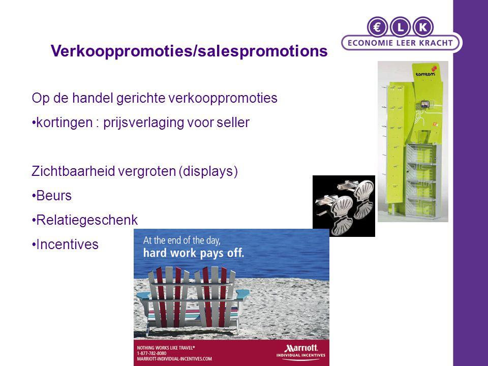 Op de handel gerichte verkooppromoties kortingen : prijsverlaging voor seller Zichtbaarheid vergroten (displays) Beurs Relatiegeschenk Incentives Verk