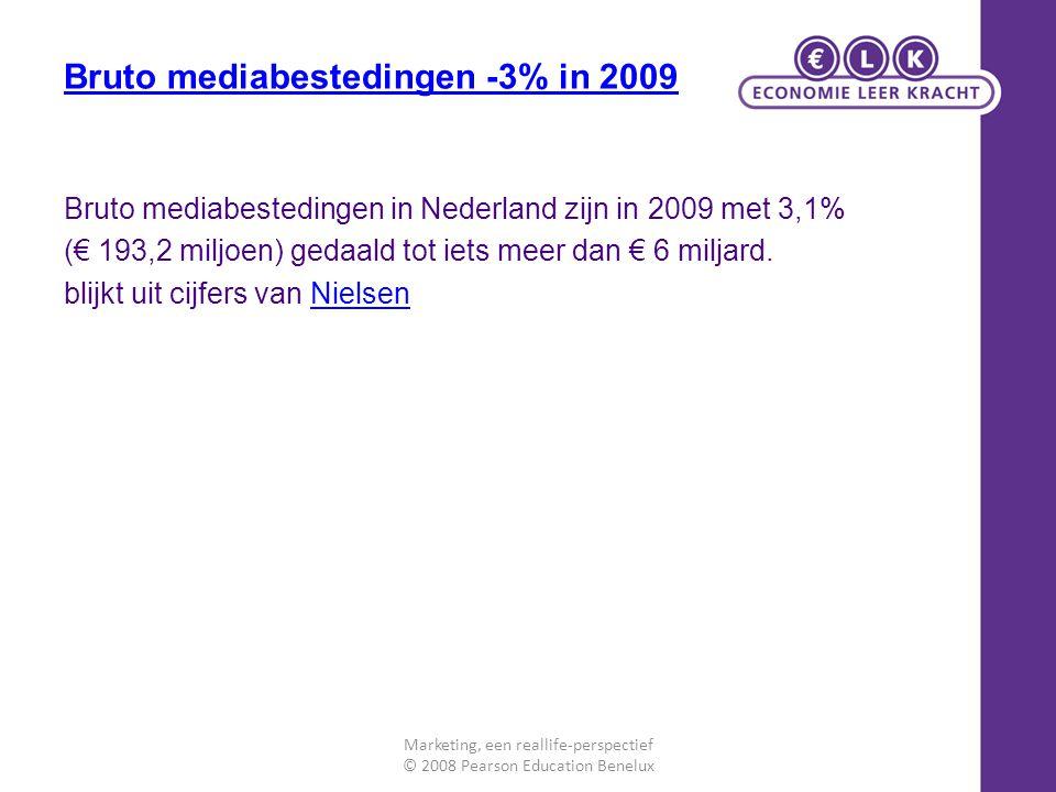 Bruto mediabestedingen -3% in 2009 Bruto mediabestedingen in Nederland zijn in 2009 met 3,1% (€ 193,2 miljoen) gedaald tot iets meer dan € 6 miljard.