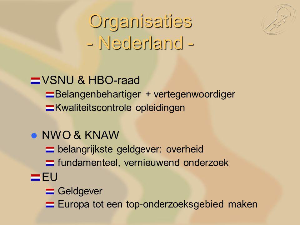 Organisaties - Nederland - VSNU & HBO-raad Belangenbehartiger + vertegenwoordiger Kwaliteitscontrole opleidingen NWO & KNAW belangrijkste geldgever: overheid fundamenteel, vernieuwend onderzoek EU Geldgever Europa tot een top-onderzoeksgebied maken