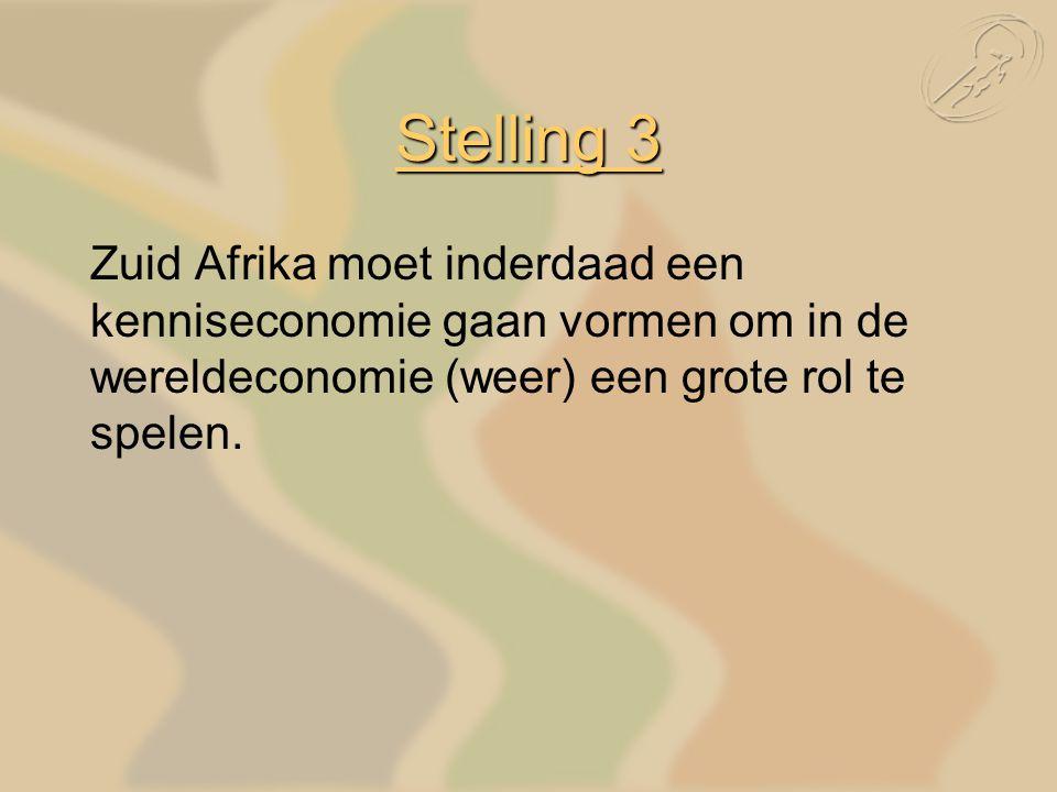 Stelling 3 Zuid Afrika moet inderdaad een kenniseconomie gaan vormen om in de wereldeconomie (weer) een grote rol te spelen.