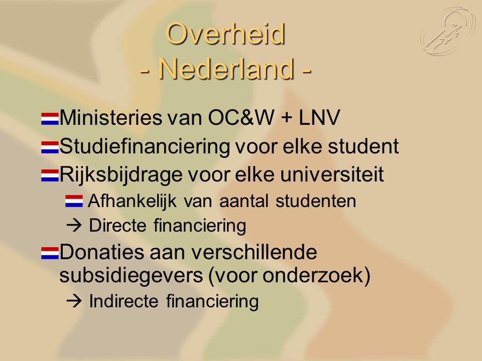 Ministeries van OC&W + LNV Studiefinanciering voor elke student Rijksbijdrage voor elke universiteit Afhankelijk van aantal studenten  Directe financiering Donaties aan verschillende subsidiegevers (voor onderzoek)  Indirecte financiering Overheid - Nederland -