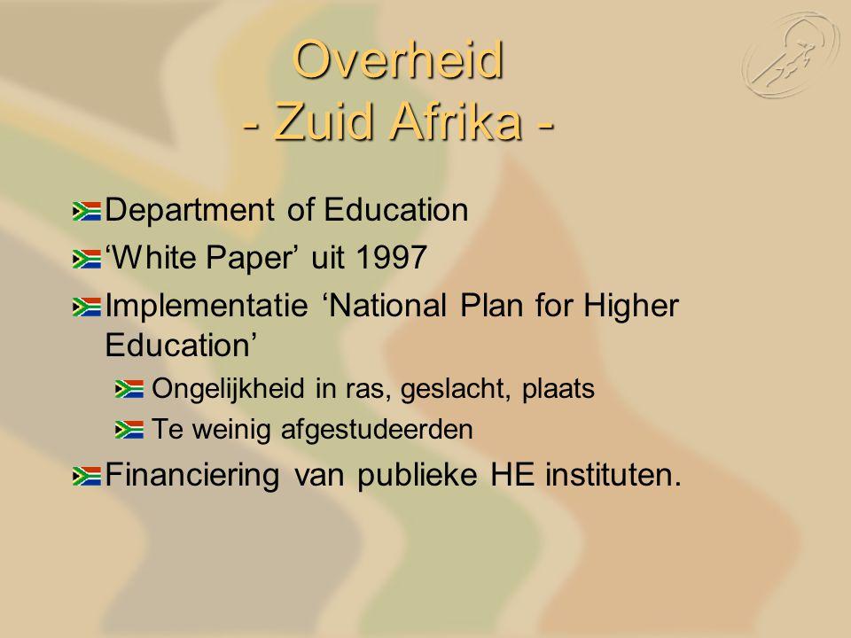 Department of Education 'White Paper' uit 1997 Implementatie 'National Plan for Higher Education' Ongelijkheid in ras, geslacht, plaats Te weinig afgestudeerden Financiering van publieke HE instituten.
