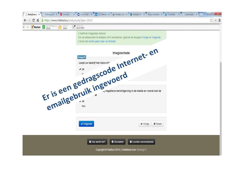 Er is een gedragscode Internet- en emailgebruik ingevoerd