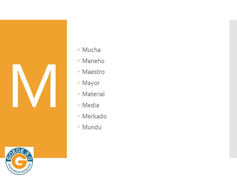 M  Mucha  Maneho  Maestro  Mayor  Material  Media  Merkado  Mundu