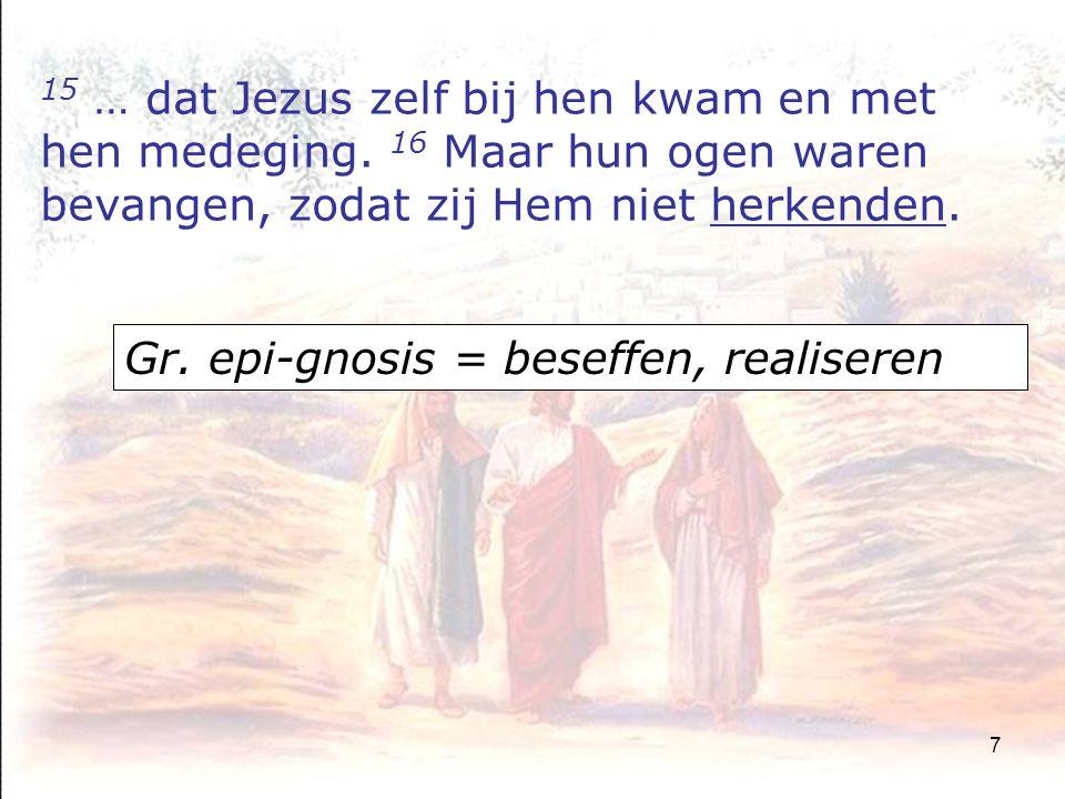 8 17 Hij zeide tot hen: Wat zijn dit voor gesprekken, die gij al wandelende met elkander voert.