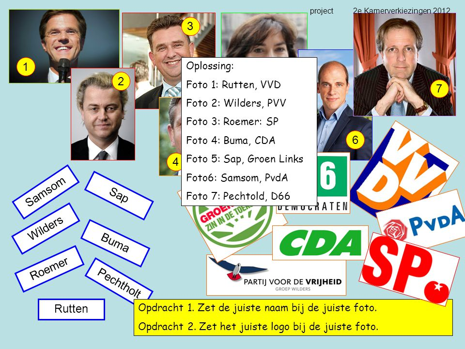 Wilders Sap Rutten Roemer Pechtholt Samsom Buma 1 2 3 4 5 6 7 Opdracht 1. Zet de juiste naam bij de juiste foto. Opdracht 2. Zet het juiste logo bij d