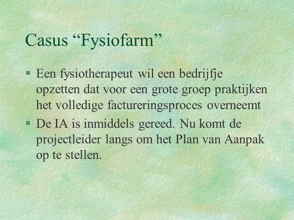 """Casus """"Fysiofarm"""" §Een fysiotherapeut wil een bedrijfje opzetten dat voor een grote groep praktijken het volledige factureringsproces overneemt §De IA"""