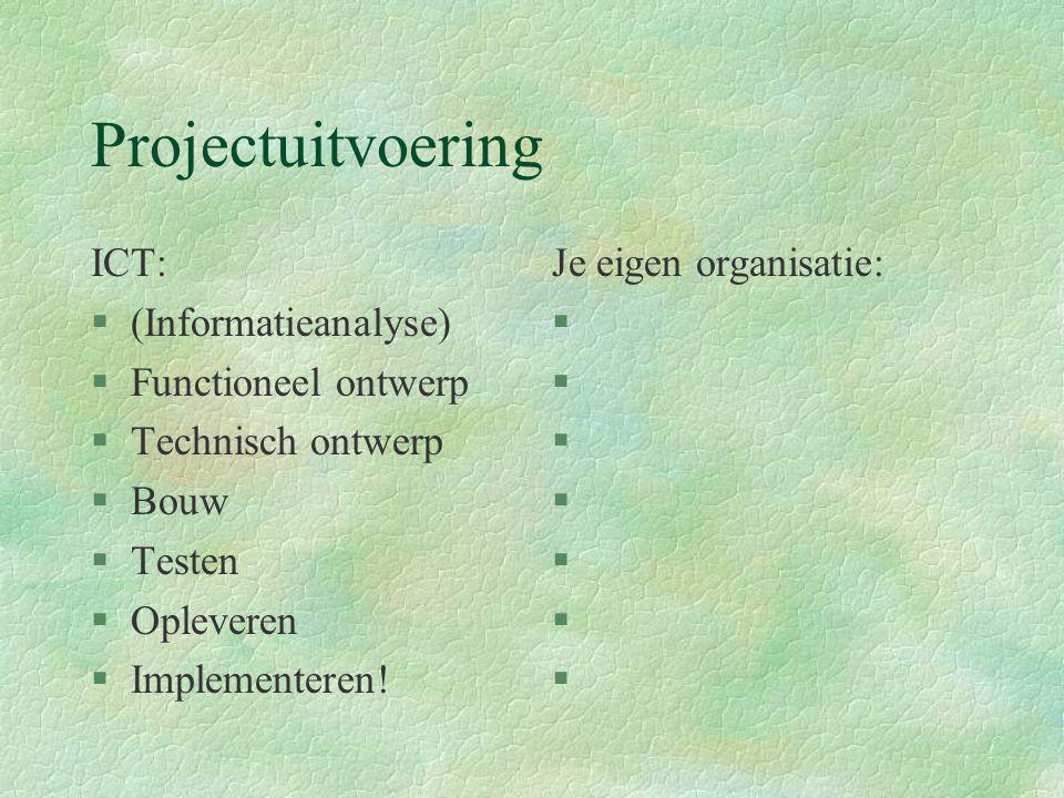 Projectuitvoering ICT: §(Informatieanalyse) §Functioneel ontwerp §Technisch ontwerp §Bouw §Testen §Opleveren §Implementeren! Je eigen organisatie: §