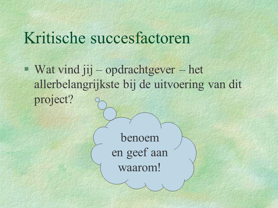 Kritische succesfactoren §Wat vind jij – opdrachtgever – het allerbelangrijkste bij de uitvoering van dit project? benoem en geef aan waarom!