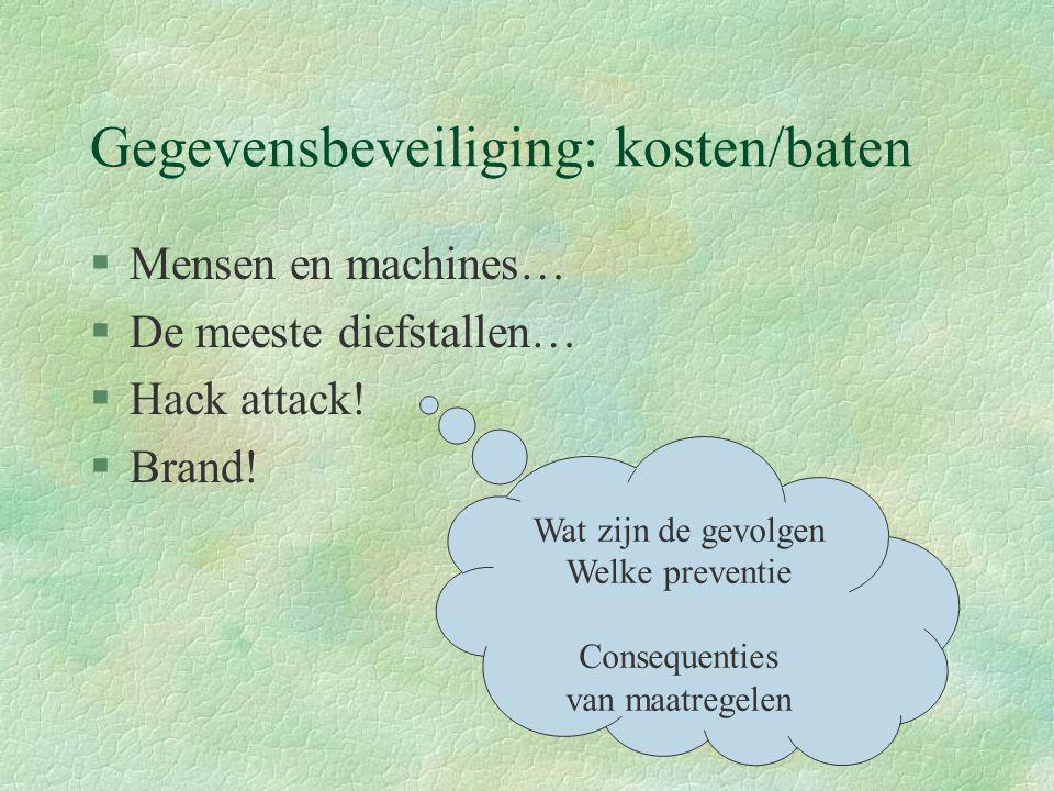 Gegevensbeveiliging: kosten/baten §Mensen en machines… §De meeste diefstallen… §Hack attack! §Brand! Wat zijn de gevolgen Welke preventie Consequentie