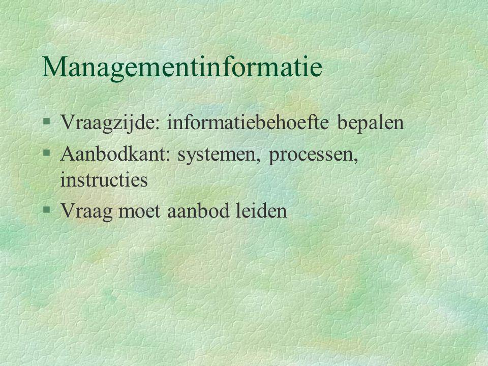 Managementinformatie §Vraagzijde: informatiebehoefte bepalen §Aanbodkant: systemen, processen, instructies §Vraag moet aanbod leiden