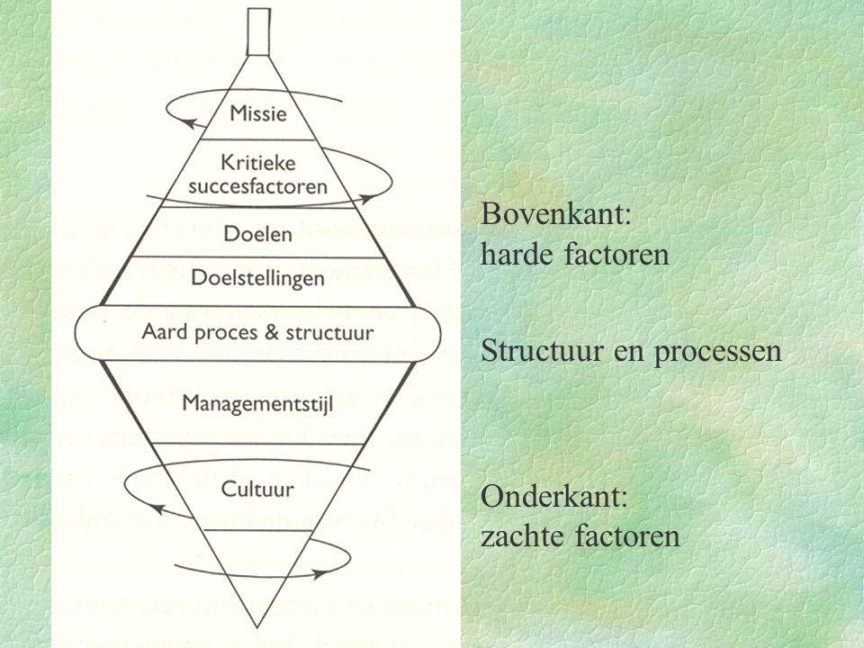 §Bovenkant: harde factoren §Structuur en processen §Onderkant: zachte factoren