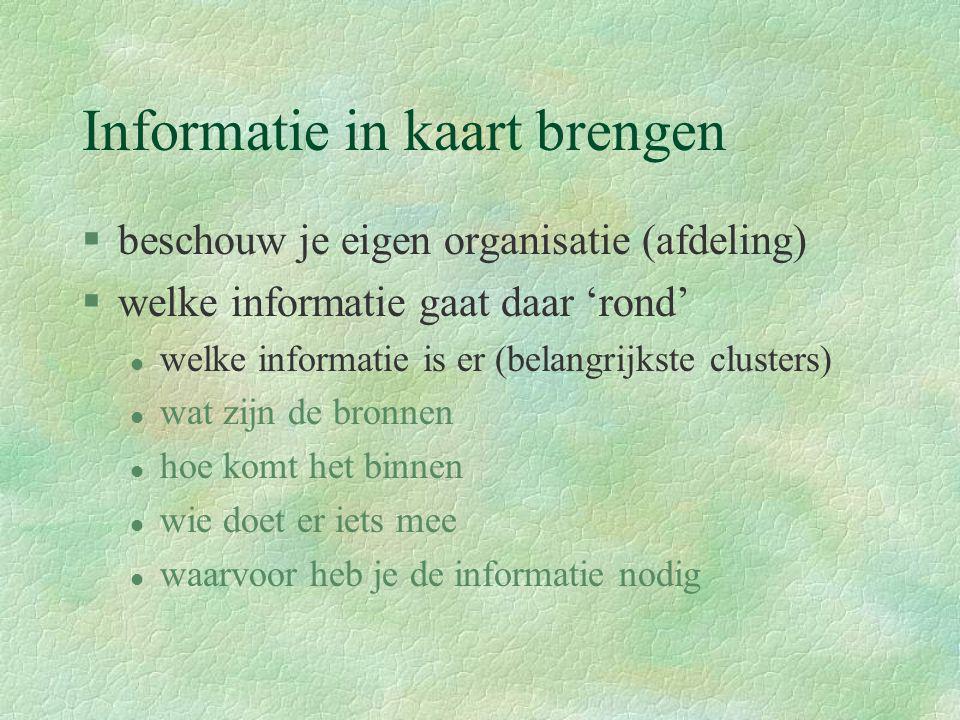 Informatie in kaart brengen §beschouw je eigen organisatie (afdeling) §welke informatie gaat daar 'rond' l welke informatie is er (belangrijkste clust